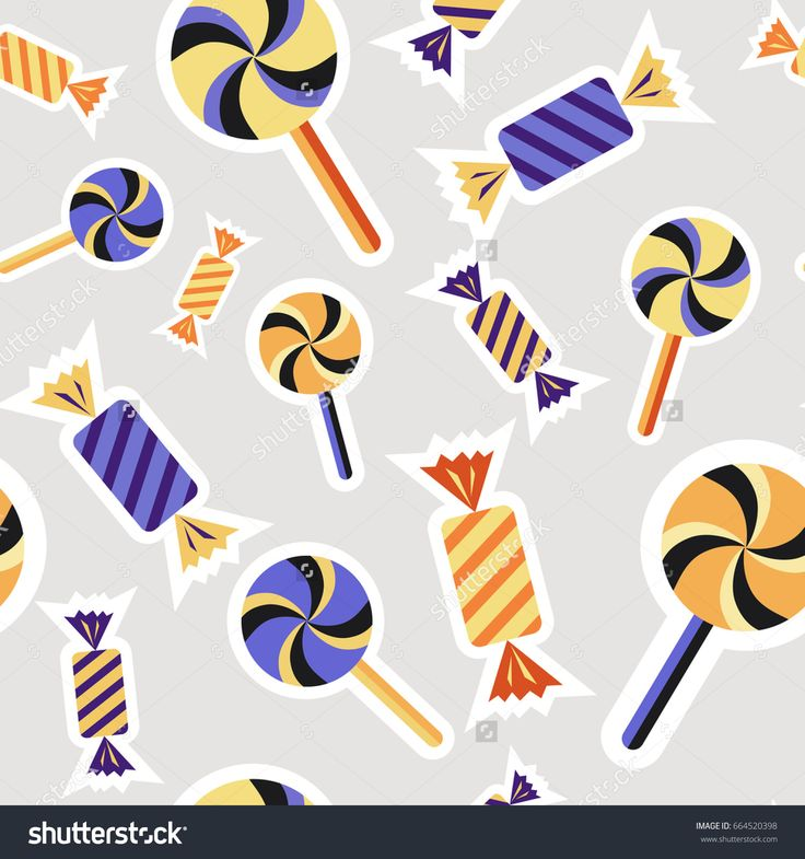 Digital vector silver purple happy halloween icons with drawn simple line art info graphic, seamless pattern, presentation with candies, sweets elements around promo template, flat style