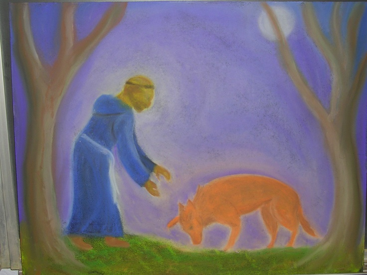 Age 08 ~ Saint Stories ~ Saint Francis and the Wolf ~ chalkboard drawing