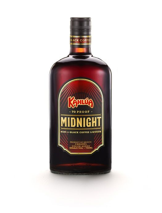 Kahlua Midnight™, a 70 proof mix of rum and black coffee liqueur is a bold, yet slightly sweet creation is a delicious mixture of smooth rum mixed with strong black coffee. It is intended to be served chilled as a shot that can transform an otherwise unremarkable night into an unforgettable one. It embodies the spirit of the midnight hour, a time where a new day is dawning and possibilities seem endless.