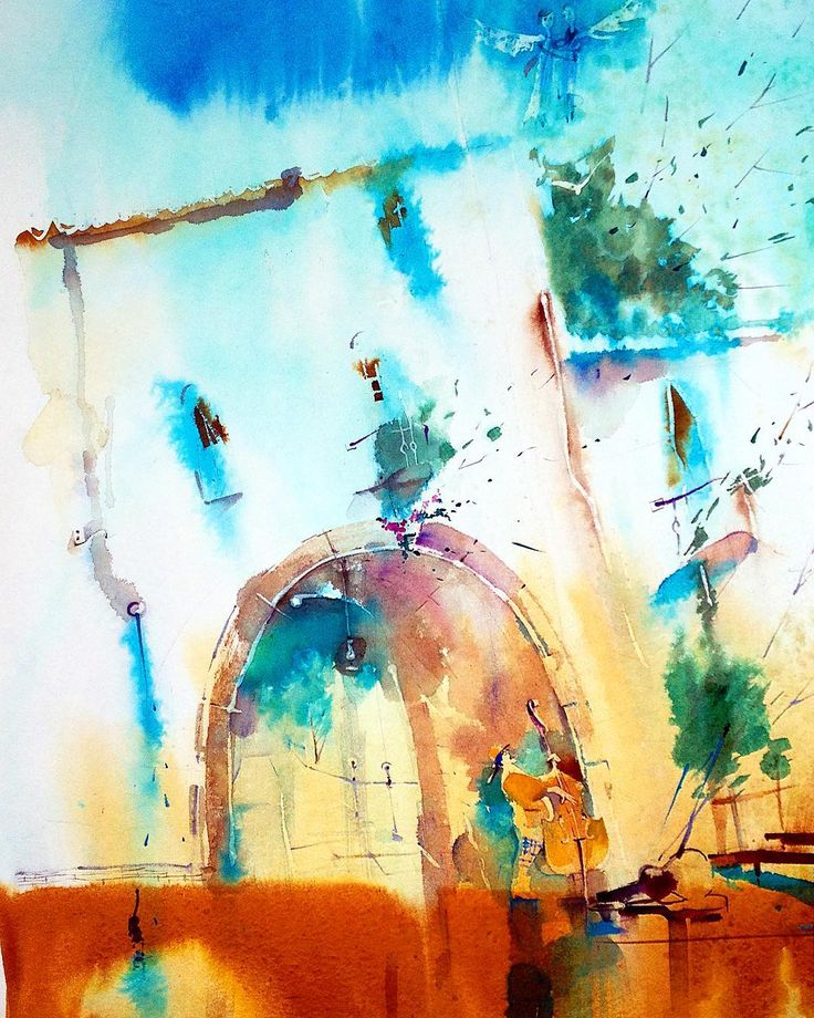 """Добрый вечер дорогие! """"Музыка"""". Люблю вас! Картина в полном формате. Акварелька и тушь. #жизнь #музыка #артконовалова #картина #архитекура #иллюстрация #artfinder #art_we_inspire #waterblog #watercolor #topcreator #illustration #archsketch #architecture #акварель #счастье #свобода #happy #уличныймузыкант"""