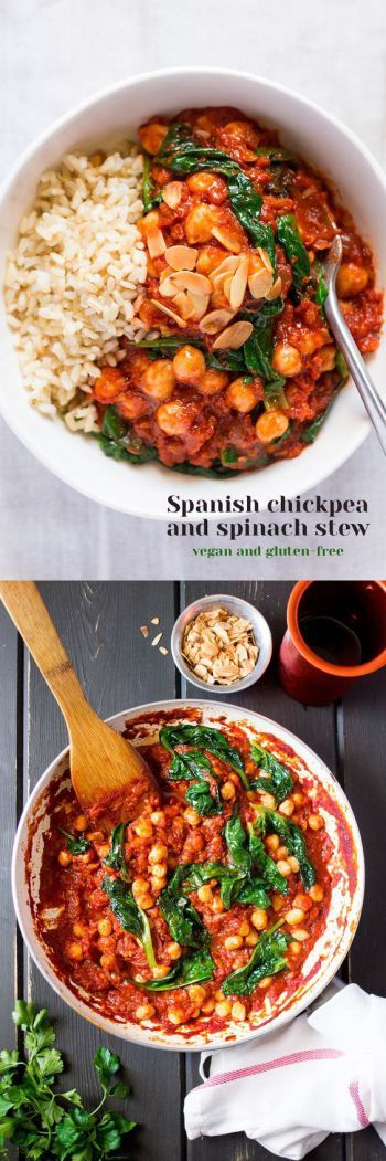 easy healthy vegan dinners, chickpea spinach stew: http://thegreenloot.com/easy-healthy-vegan-dinners/