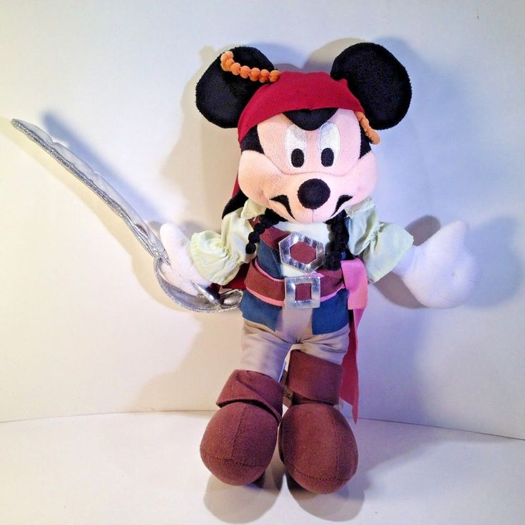 "Mickey Mouse Plush 12"" Pirates Of The Caribbean Disney Parks store  #Disney #Mickey #Pirate"