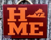 Virginia Tech Hokies Home VT state sign plaque painted decor