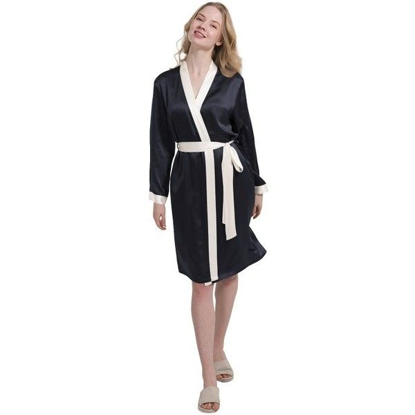 Ladies Silk Dressing Gown Bathrobe Plus Size - OOSilk ($259) ❤ liked on Polyvore featuring intimates, robes, plus size bathrobes, silk bath robes, silk bathrobe, silk robe and plus size robes