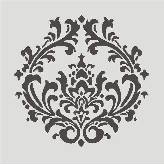 Tamaños de plantilla Damasco 4.3 6 diseño de por SuperiorStencils