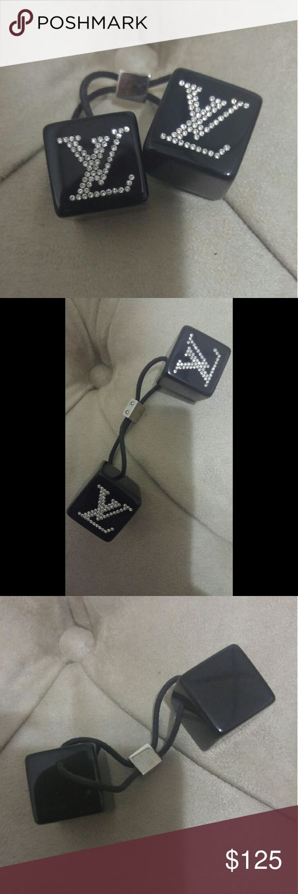Authentic Louis Vuitton Swarovski Hair Cubes Limited Edition, very hard to find. Perfect condition, all stones in tact - elastic in perfect condition as well. Louis Vuitton Accessories Hair Accessories