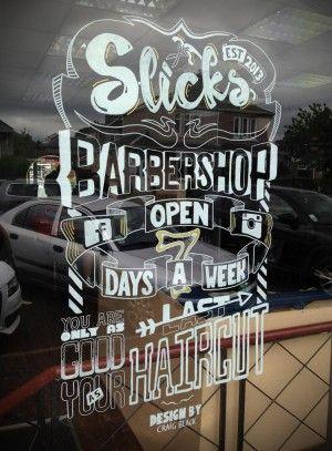 Slick's Barbershop Typographic Window Art