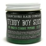 Anchors Teddy Boy Slick pomade is a medium weight oil based pomade for a medium flexible hold with an amazing soft shine.