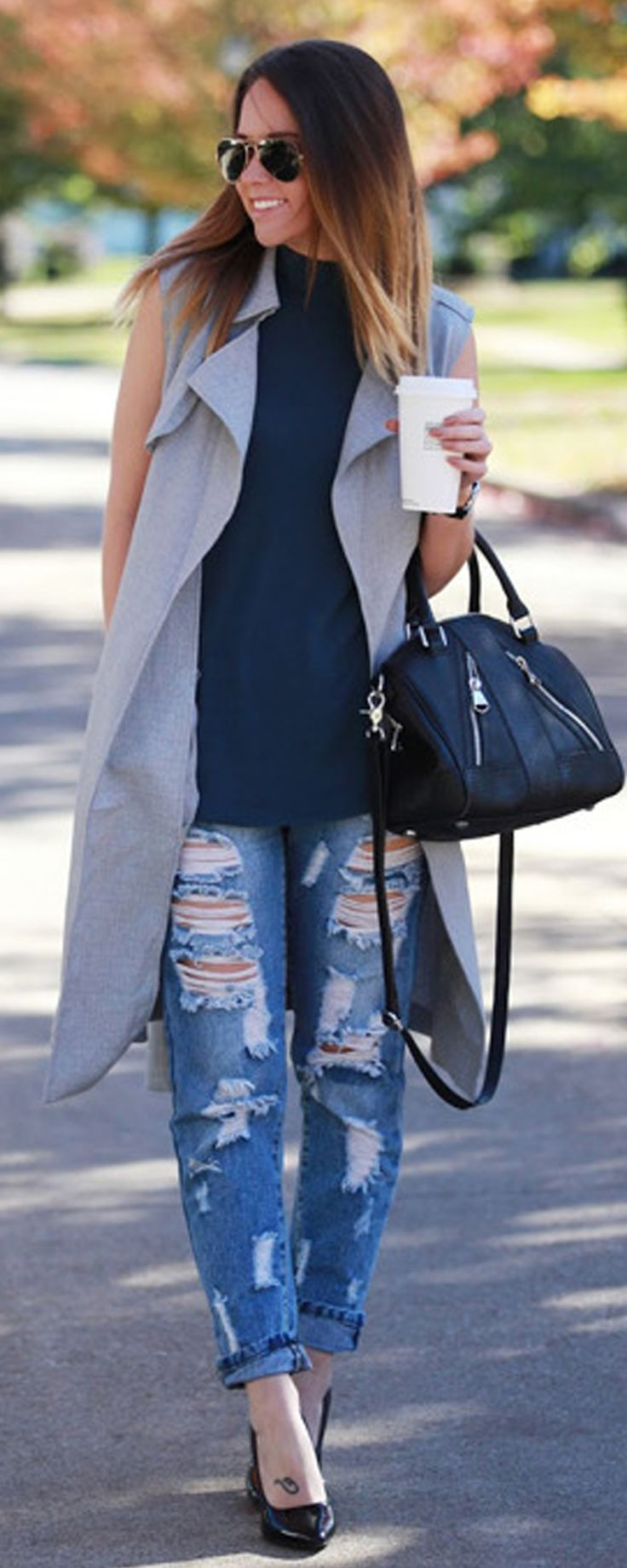 Chic Grey Sleeveless Lapel Pockets Trench Coat - Sleeveless Trench Coat - Grey Vest - m.shein.com