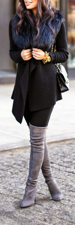 Black-fur-collar + grey suede over the knee boots.