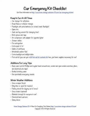 free printable car emergency kit checklist