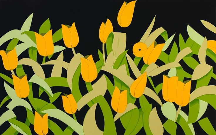 Alex Katz, Yellow Tulips, ed. 6/50 2013, 16-Color Silkscreen Print on 4-Ply Museum Board