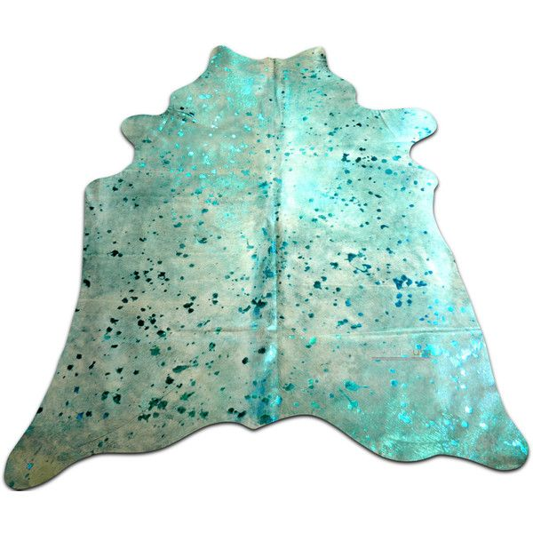 Turquoise Metallic Cowhide Approximate Size 5 X 5 Ft Turquoise Cow... ($249) ❤ liked on Polyvore featuring home, rugs, floor & rugs, home & living, silver, cow rug, animal rugs, cowskin rug, cowhide rug and cow skin rug