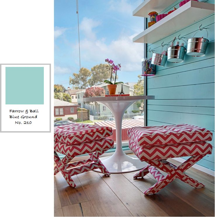 Farrow & Ball Paint Blue Ground with red accents - lovin' those zig zags!