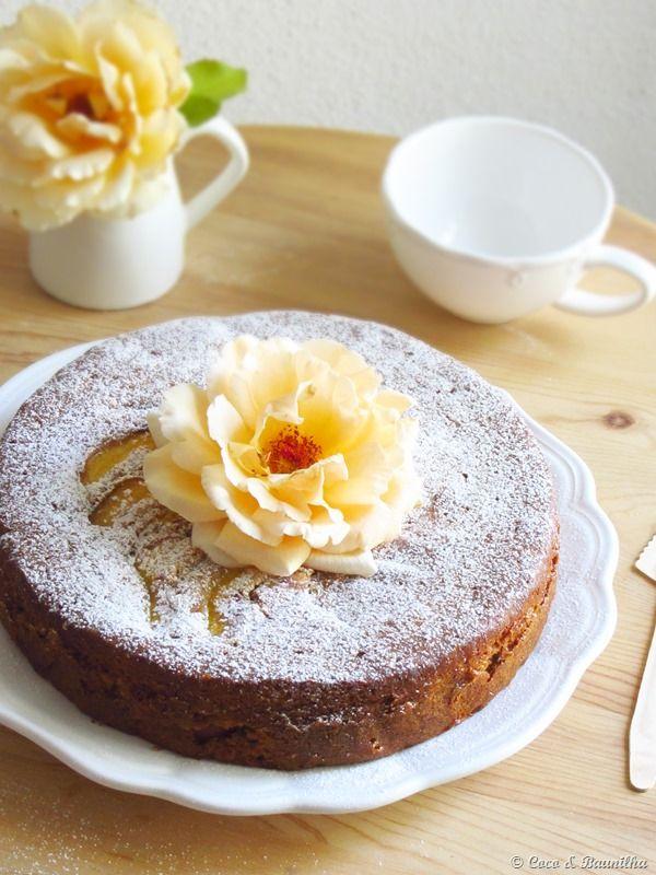 Torta de la nectarina, lavanda y miel