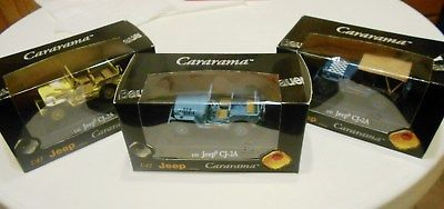 3x-Willys-MB-Jeep-1-43-CJ2A-Special-Edition-Diecast-Daimler-Chrysler-Cararama