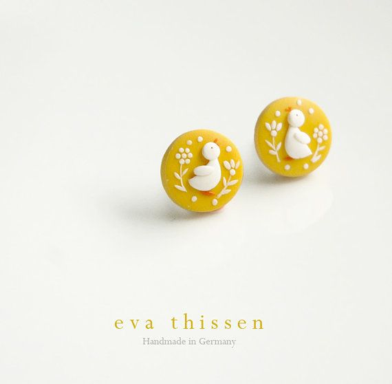 Cute duckling handmade polymer clay eartsuds por EvaThissen en Etsy