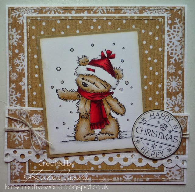 Christmas card in shades of brown and white featuring James bear  in the snow from LOTV