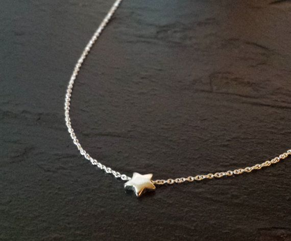 Tiny Sterling Silver Star Necklace by ArbotiqueDesigns on Etsy, I NEED THIS with an 18 inch chain!!!! ahhh <333