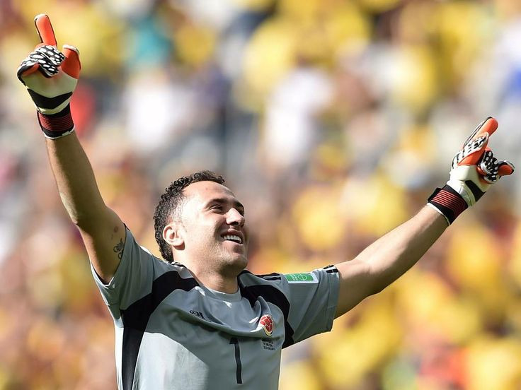 David Ospina celebrates a 3-0 Colombia win over Greece.