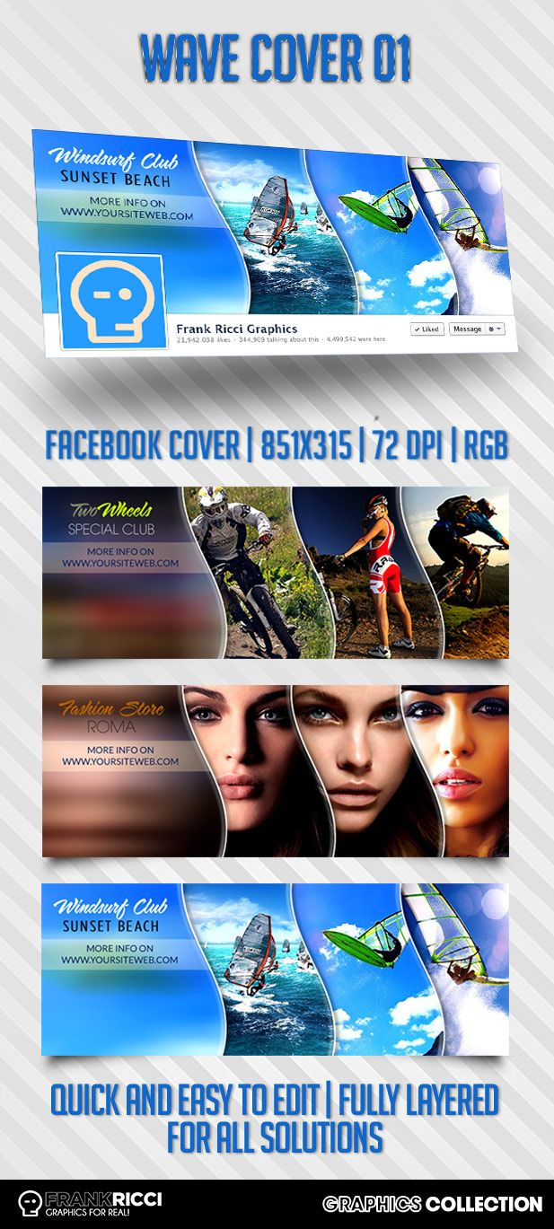 Cover Facebook Wave 01 Template - Available on http://frankricci.it/wave-cover-01/
