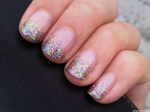 Cute twist on French manicure with sparkly rainbow tips