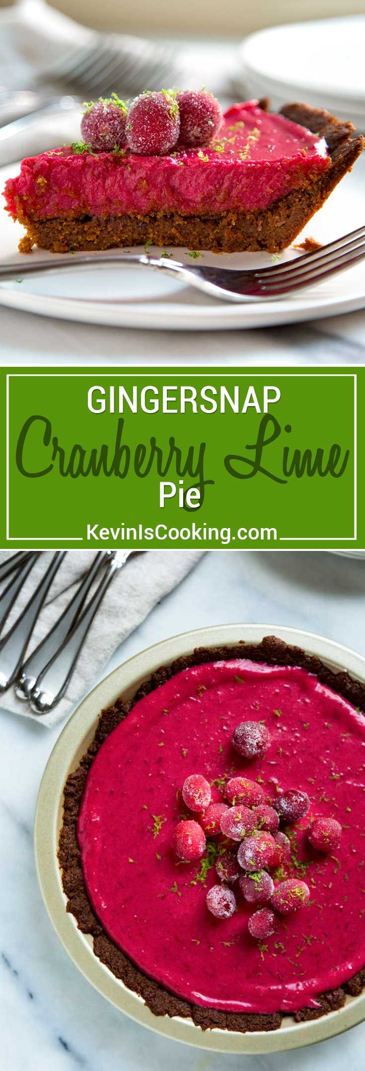 This Cranberry Lime Pie has a gingersnap cookie and walnut crust, a cranberry lime curd that is out of this world and topped with candied cranberries. Wow! via @keviniscooking