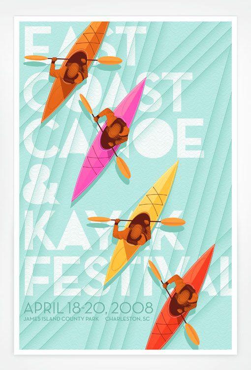 Jay Fletcher: East Coast, Kayaks Festivals, Fletcher Design, Festivals Posters, Eastcoast, Posters Design, Graphics Design, Coast Canoeing, Jay Fletcher