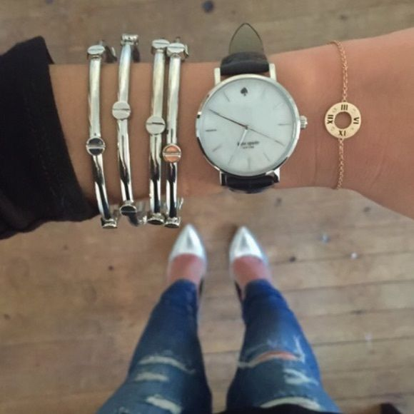 Kate Spade   black watch Authentic Kate Spade watch. Needs a new battery. Like new, only worn once, plastic still on face. Silver face with black leather strap. Box not included. kate spade Accessories Watches