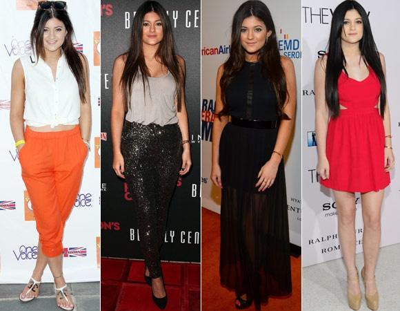 Com 15 anos, Kylie Jenner é a irmã mais nova da família Kardashian! É tão glam quanto a irmã, mas procura não investir somente nos vestidos. Ela abusa das últimas tendências, como cinto de metal, transparências, recortes e brilho!