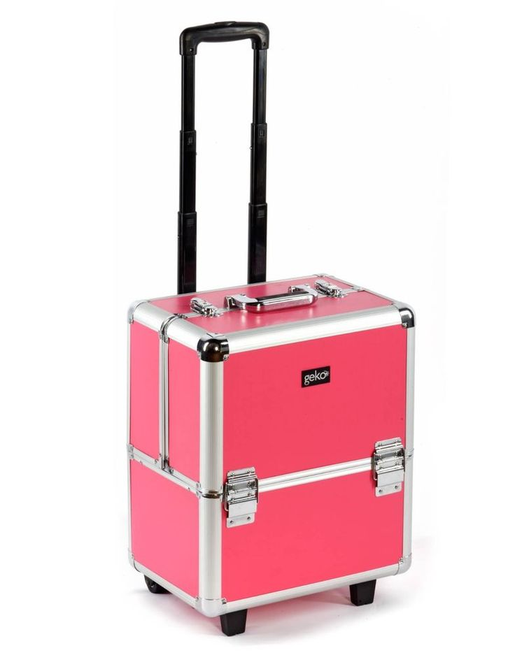 Beautician Makeup Trolley Box Pink. This is a premium product with high grade fittings. It has two metal locks, tough roll along trolley wheels and an extendable pull handle.