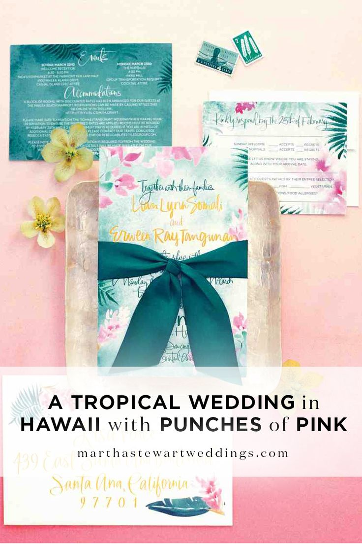 A Tropical Weddings in Hawaii with Punches of Pink | Martha Stewart Weddings - When it comes to romance, Lian Somali and Erween Tangunan aren't exactly impetuous. The two met in 2005 through their jobs at Loma Linda University, in Southern California, where Erween still works as a clinical lab scientist in the school's medical center.
