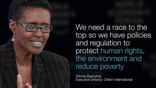 We need a race to the top so we have policies & regulation to protect #humanrights, the environment and reduce #poverty. - Winnie Byanyima, Executive Director, Oxfam International #WEF14