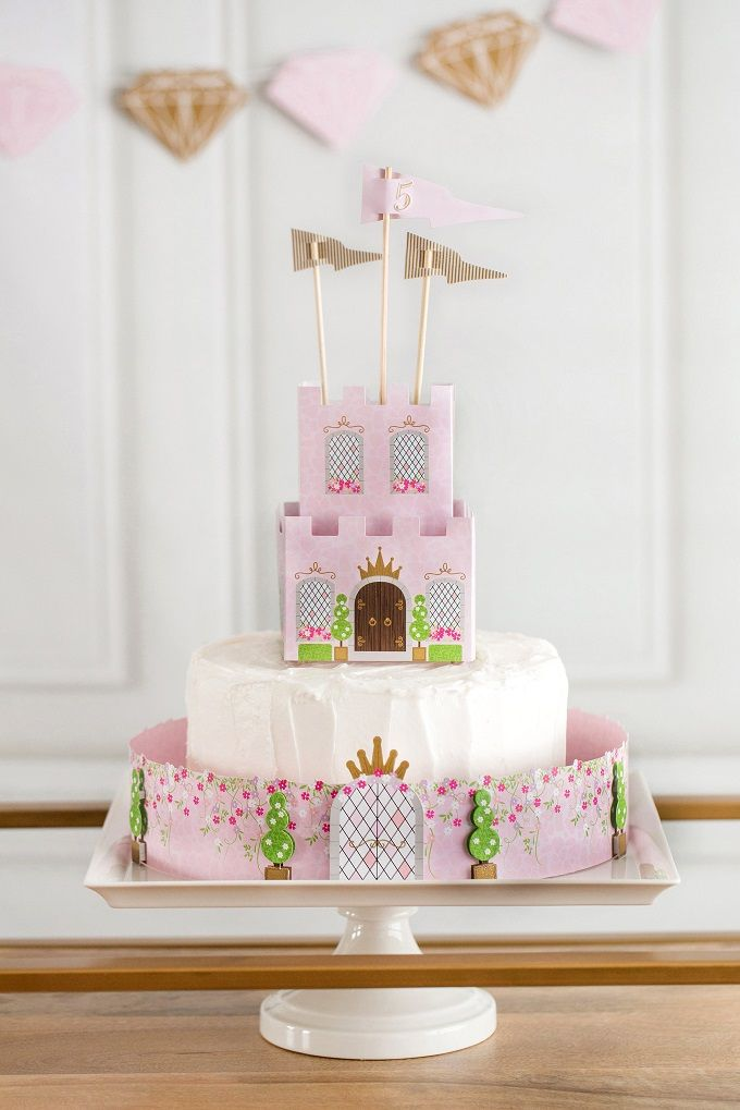 Decorate a pink and gold princess birthday cake in minutes! Get more princess birthday party ideas with Kim Byers at The Celebration Shoppe.