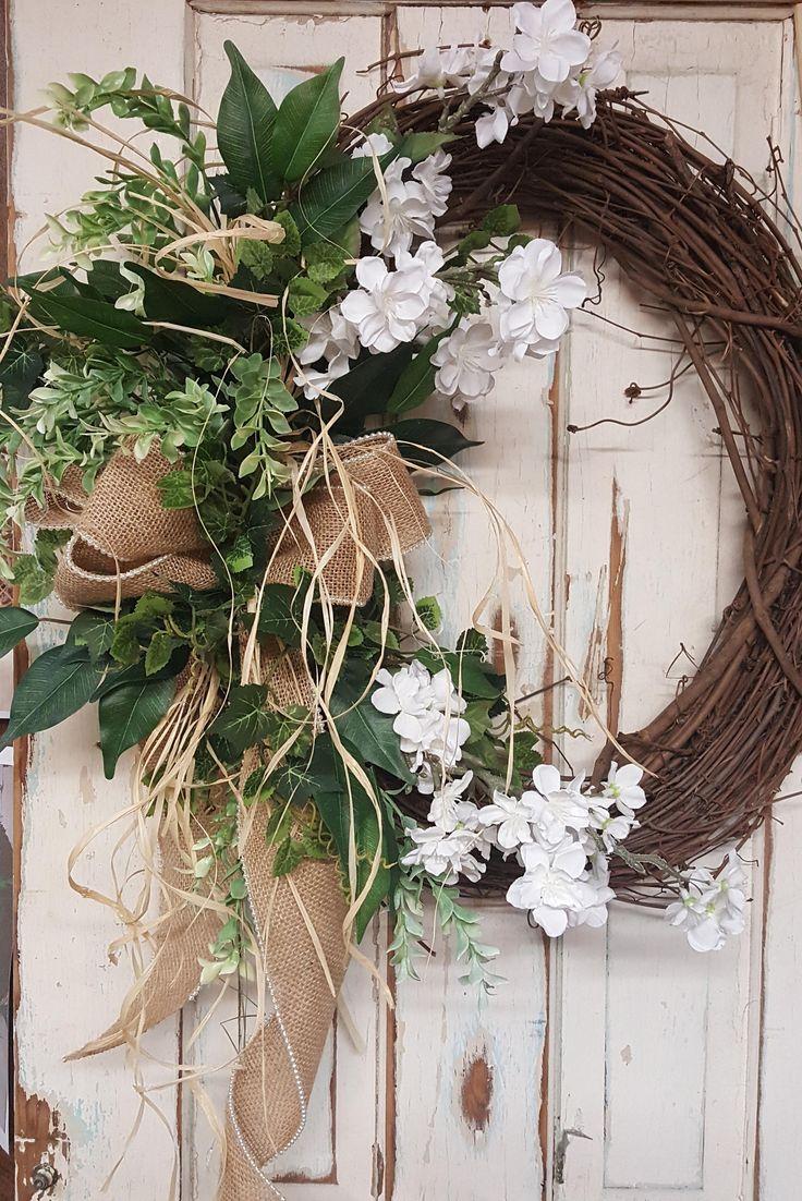 Front Door Wreath, summer wreath, spring wreath, Burlap Wreath, Door Wreath, vintage Wreath, wedding wreath, farmhouse wedding by FarmHouseFloraLs on Etsy
