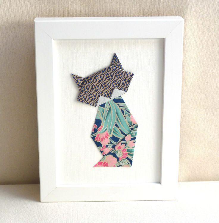 Affichette , chat en origami \u2013 bleu et rose \u2013 Collection « La famille Chats ,Muses»