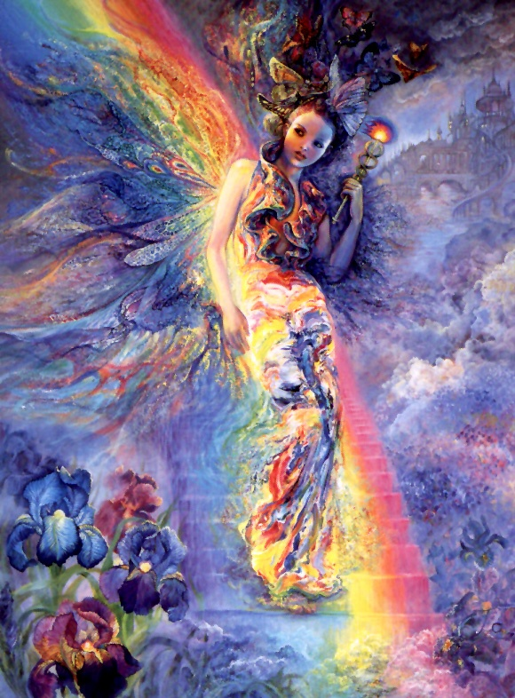 Iris the goddess of spring arrives on a rainbow path