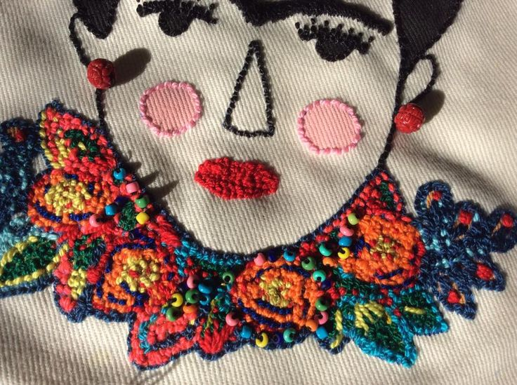 Frida Kahlo Embroidery - Bordado de Frida Kahlo para monedera