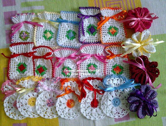 Tecendo Artes em Crochet: Sachês, Sachês e mais Sachês