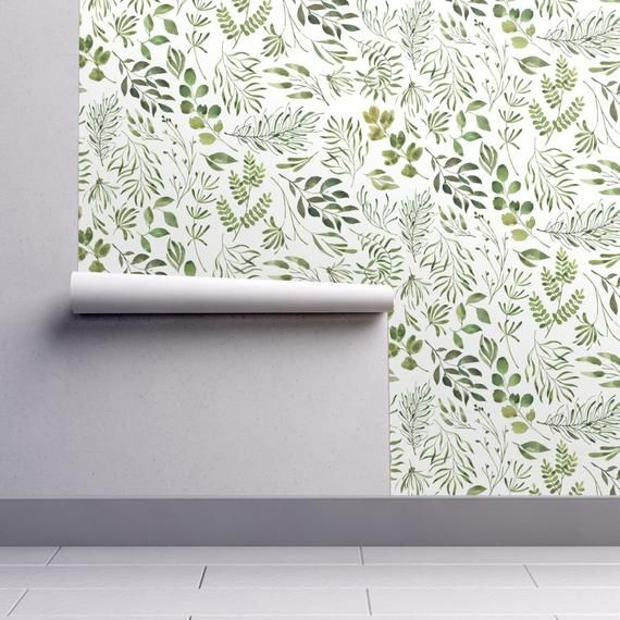 Removable Wallpaper With On Trend Green Leaves Design Perfect For Nature Inspired Living Rooms And A Botanical Wallpaper Leaf Wallpaper Spoonflower Wallpaper