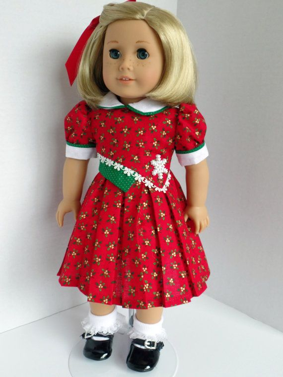 A Red Christmas Dress for Kit Molly Ruthie by PeppersDollClothes