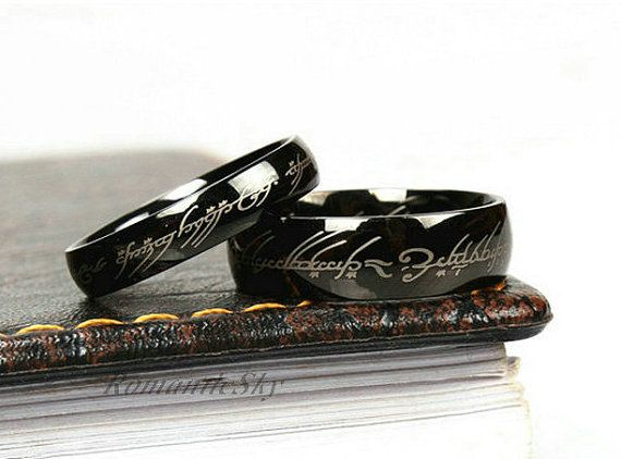 2pcs Black Lord of the rings titanium rings Wedding by RomanticSky, $34.59