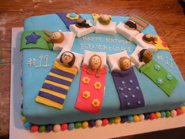 Sleepover slumber party cake