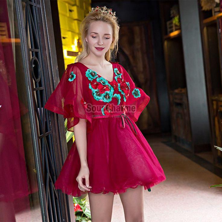 robe avec manche large en tulle bordeaux à fleurs turquoises jupe tutu mini courte