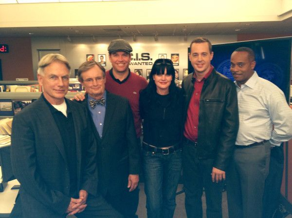 Mark Harmon, David McCallum, Michael Weatherly, Pauley Perrette, Sean Murray, and Rocky Carroll (NCIS cast)