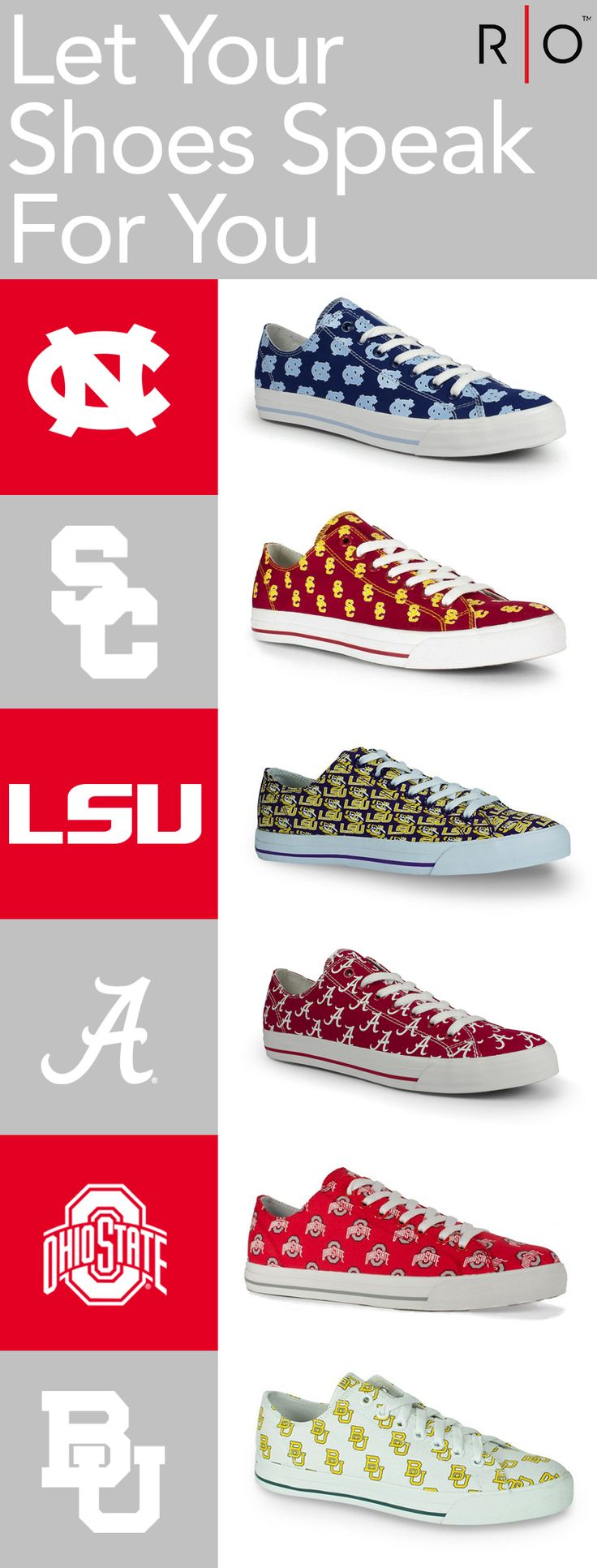 Row One offers a unique line of footwear that allows fans to show their loyalty to their favorite teams and schools.    https://www.rowonebrands.com/products/ohio-state-university-victory?utm_source=Pinterest&utm_medium=11.5P