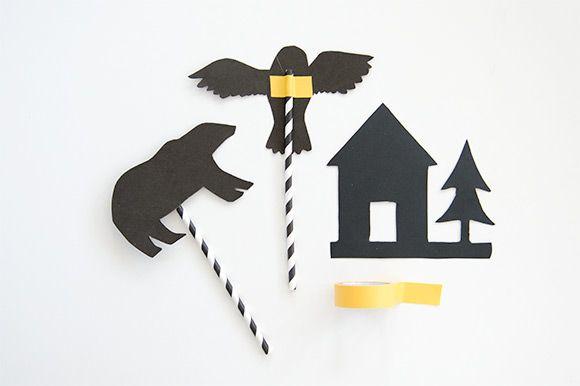 Imprimibles para hacer sombras chinescas a la hora del cuento por la noche >> DIY Printable Shadow Puppet Bedtime Stories