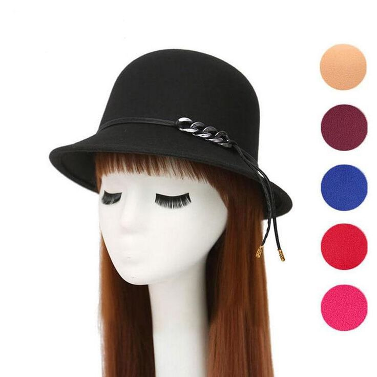 Europe England Style Autumn Winter Hat For Women Fedora Hat Woman Wide Brim Wool… – Accessories