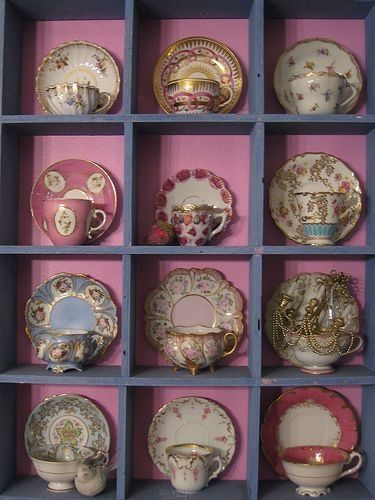 Tea cups. Display