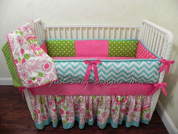 Custom Crib Bedding Felicity - Aqua Chevron With Hot Pink And Lime